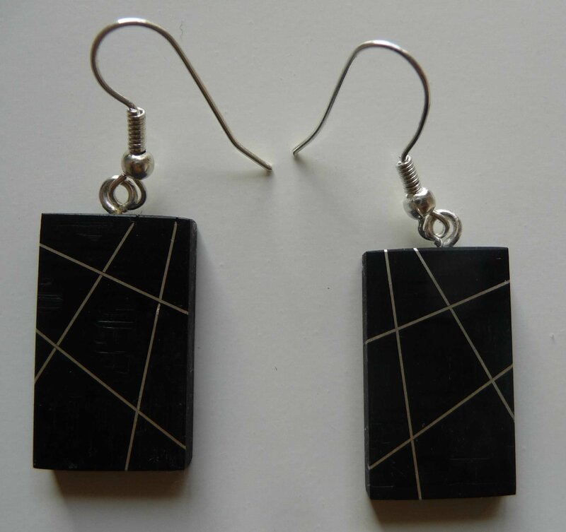 Boucles rectangles Ebene barrees argent