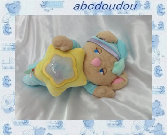 Doudou Peluche Ours Musical Veilleuse Multicolore 2001 Fisher Price