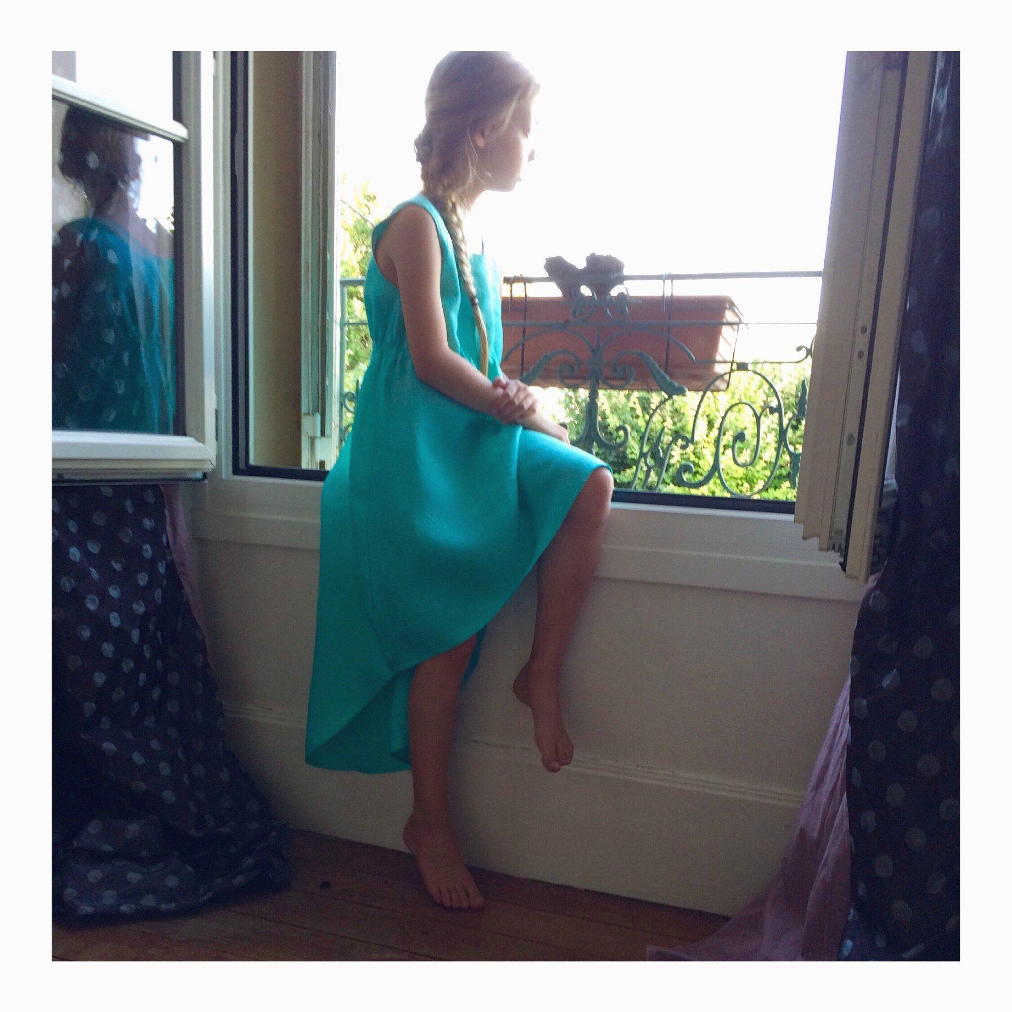 Harmony dress en lin turquoise