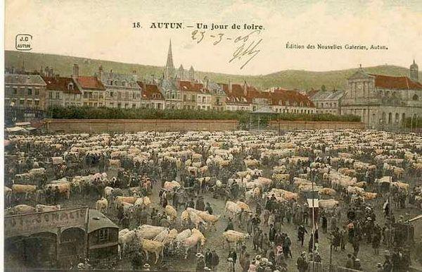 Carte-postale-ancienne-BOURGOGNE-Autun-Jour-de-foire-1906