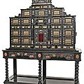 A splendid gilt-brass mounted and marble inlaid ebonised cabinet, augsburg, 3rd quarter 17th ct
