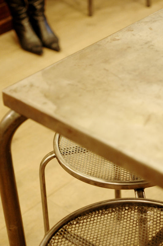 Square iron table with stools