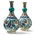 A pair of samson porcelain iznik-style vases. late 19th century