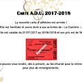 Année 2017/2018 : la carte d'adhésion est disponible !