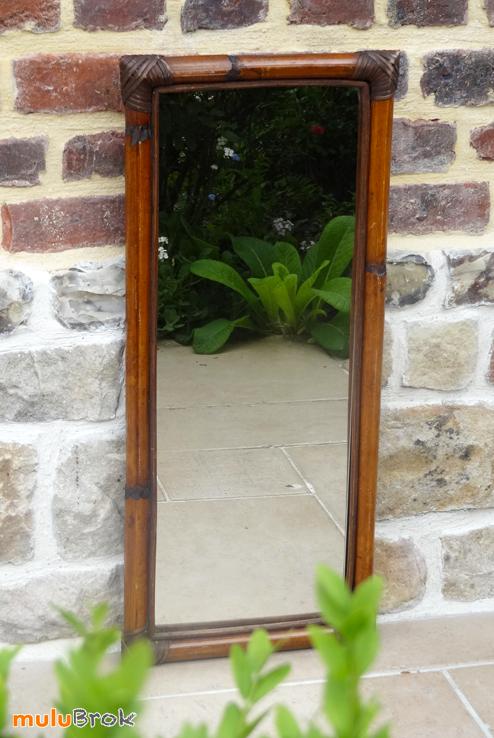 D co vintage grand miroir bambou et rotin figuier for Miroir bambou