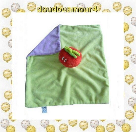 Doudou Peluche Carré Plat Tomate Rouge Vert et Violet Hochet p'tit dodo