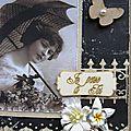 Carte vintage pour le challenge d'avril de la malle aux fleurs