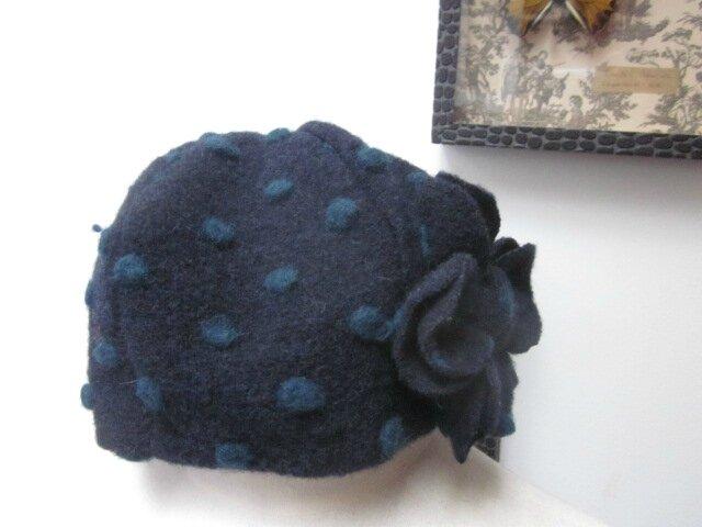 Chapeau AGATHE en maille lainage marine à pois vert sapin - doublure coton marine - taille 56 (3)