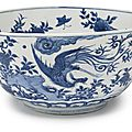 A large chinese porcelain blue and white 'phoenix' bowl, ming dynasty, 17th century