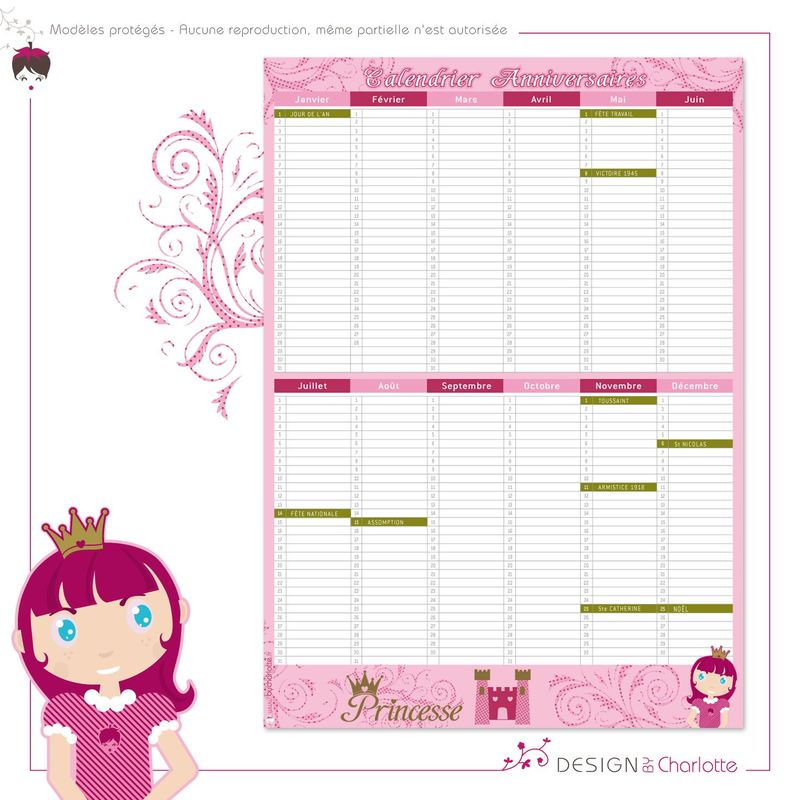 calendrier perp tuel princesse anniversaire et f te cr ation de design by charlotte. Black Bedroom Furniture Sets. Home Design Ideas