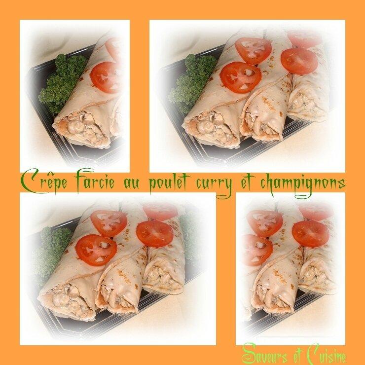 Crêpe farcie au poulet curry champignon