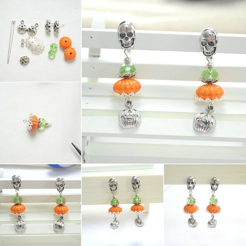 Easy-Halloween-Craft-Ideas--Designing-Halloween-Themed-Earrings-with-Skull-and-Pumpkin