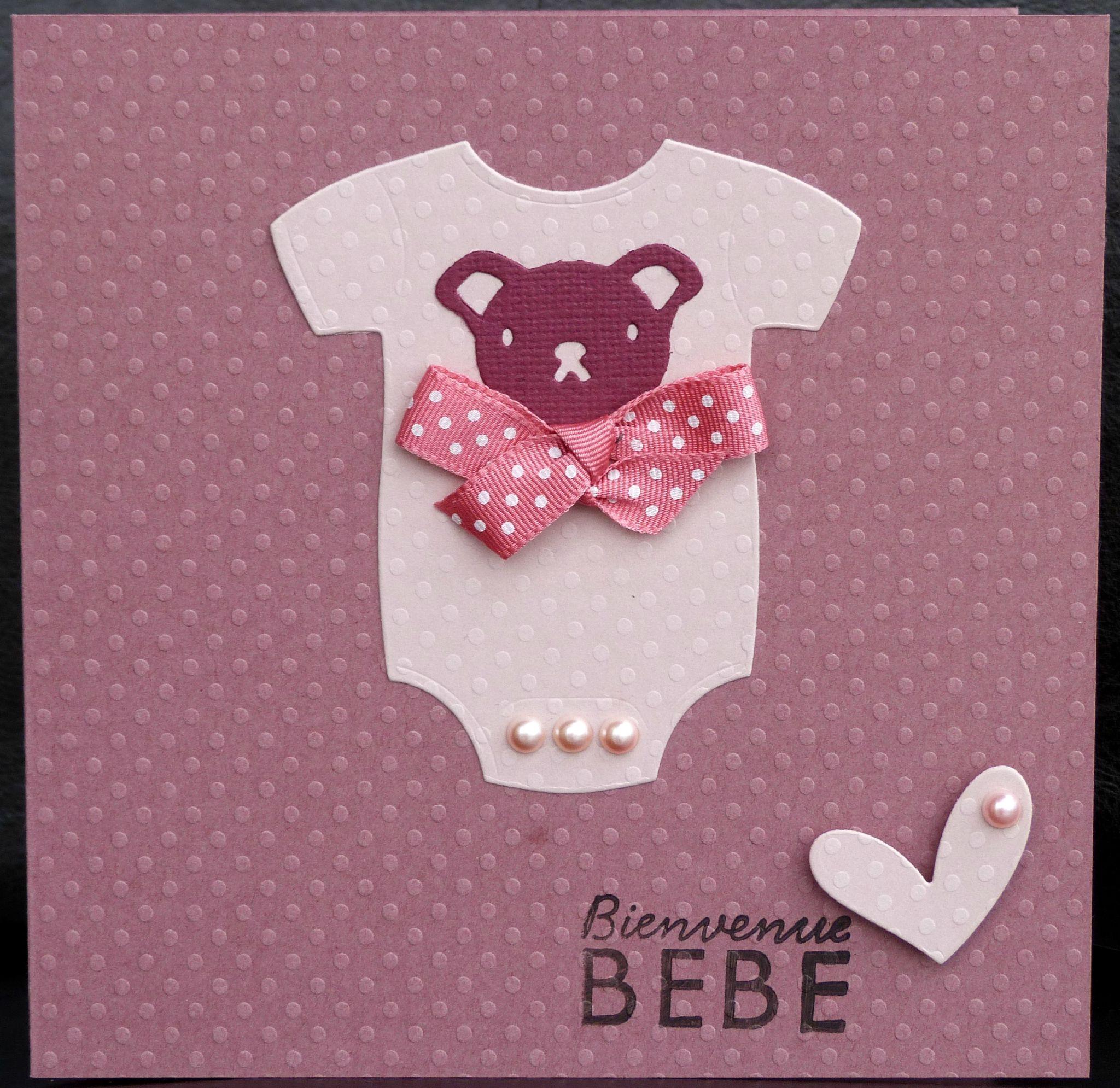 Populaire Carte de naissance fille tendre et élégante avec body rose, noeud  CB57