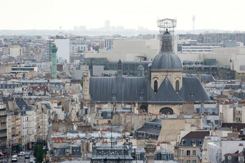 Eglise Saint-Paul Saint-Louis, Opéra Bastille, colonne de Juillet de la place de la Bastille