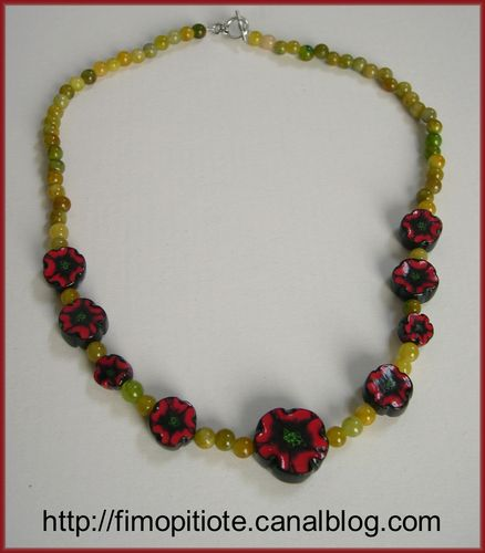 Collier coquelicots