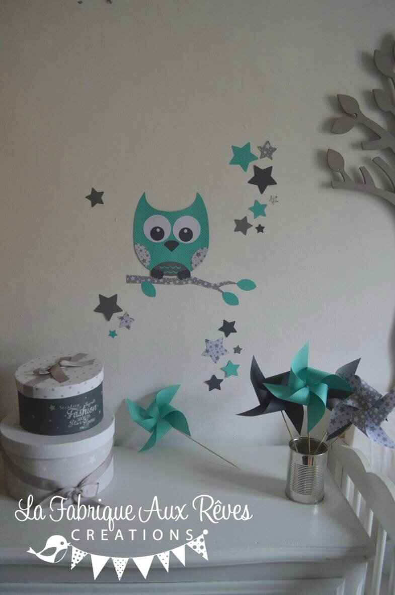 stickers hibou chouette d coration chambre enfant fille b b gar on toiles turquoise cara be. Black Bedroom Furniture Sets. Home Design Ideas