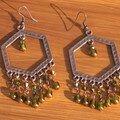 Boucles d'oreilles estampes olivine et bronze
