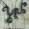Collier elfique noir et vert (2)