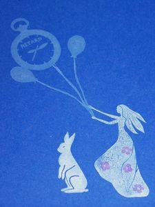 stamps Alice sur papier bleu