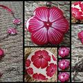 Sautoir fleur rouge et blanc 2