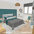 Projet client: une chambre d'amis en bleu, bois et blanc