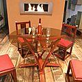 Table de créateur,table de séjour,table design,table en douelle de tonneaux,table de jardin