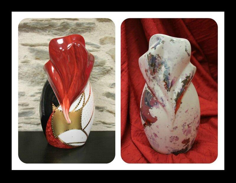 Vase rouge, noir et or
