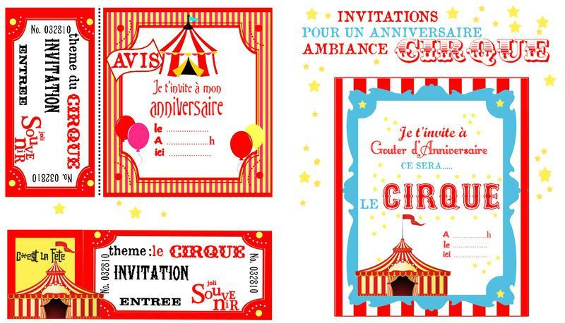 invitation anniversaire theme cirque gosupsneek. Black Bedroom Furniture Sets. Home Design Ideas