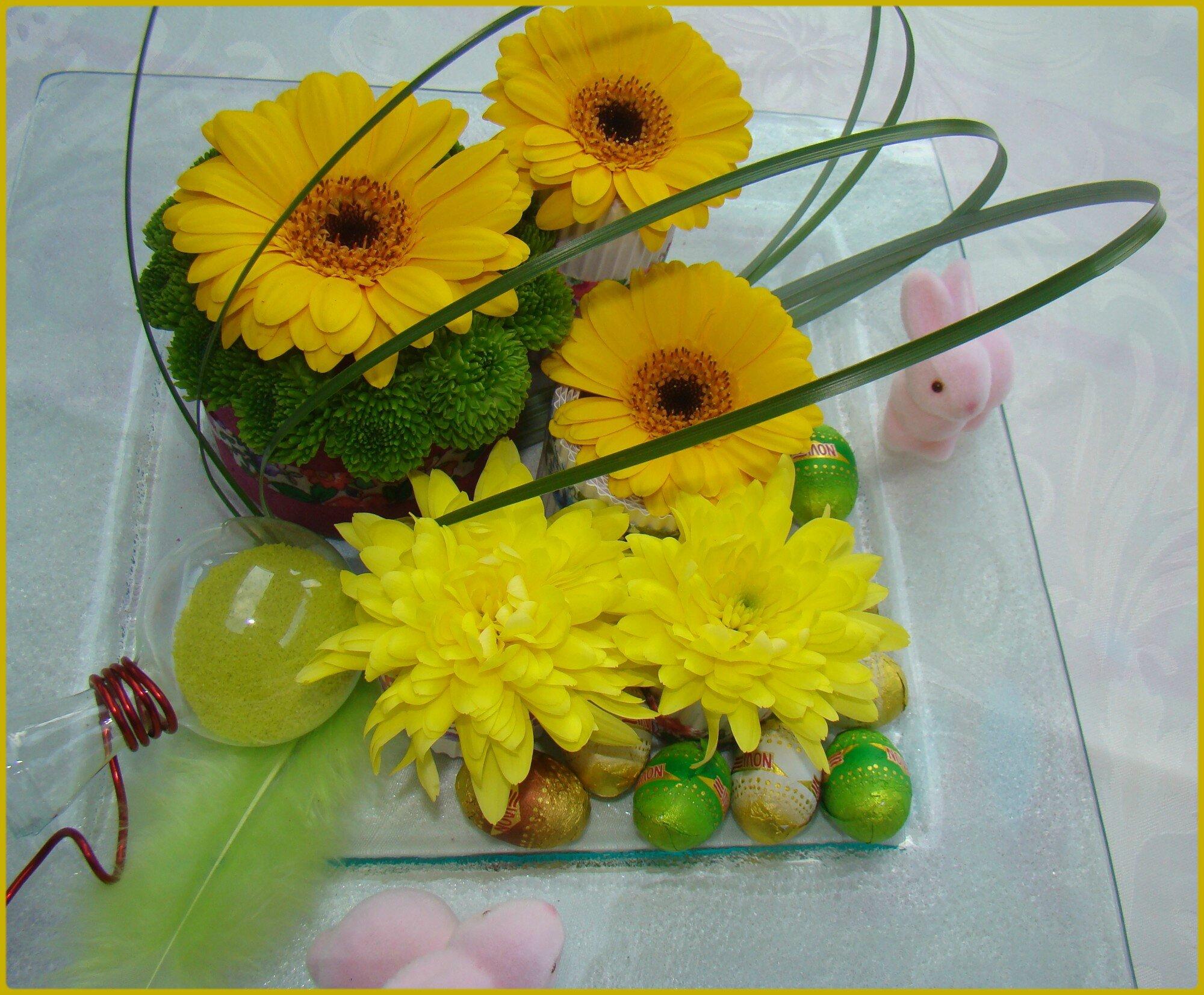composition florale paques finest tout duabord je vous montre une cration florale personnelle. Black Bedroom Furniture Sets. Home Design Ideas