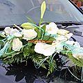Décoration de voiture de mariée bleu turquoise et blanche