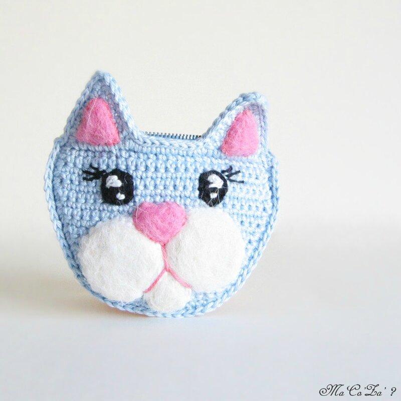 Porte-monnaies chat au crochet et feutrine 4