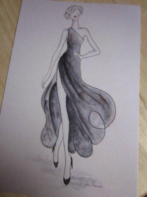 "Carte postale ""La robe fendue"""