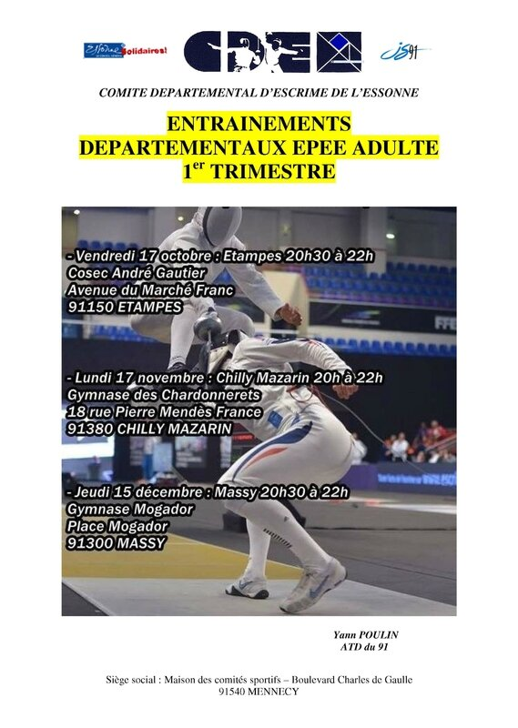 Entrainements Epee Adulte