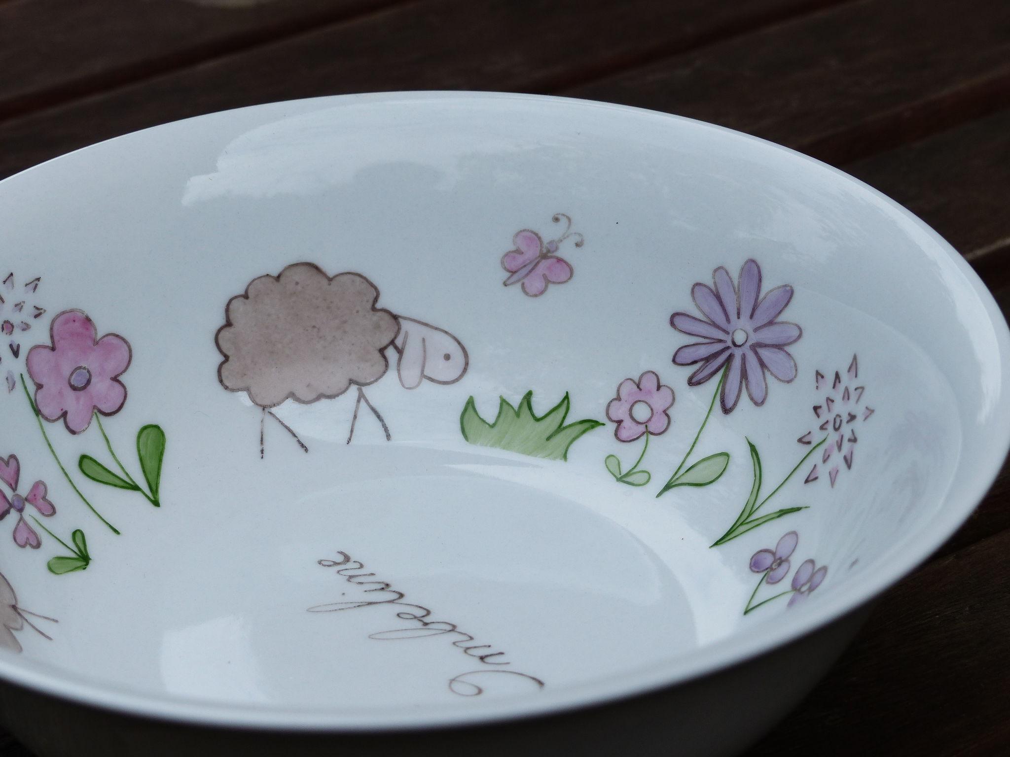assiette peinte à la main