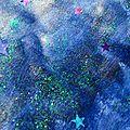 art journal mixed media sur le thème de la nuit