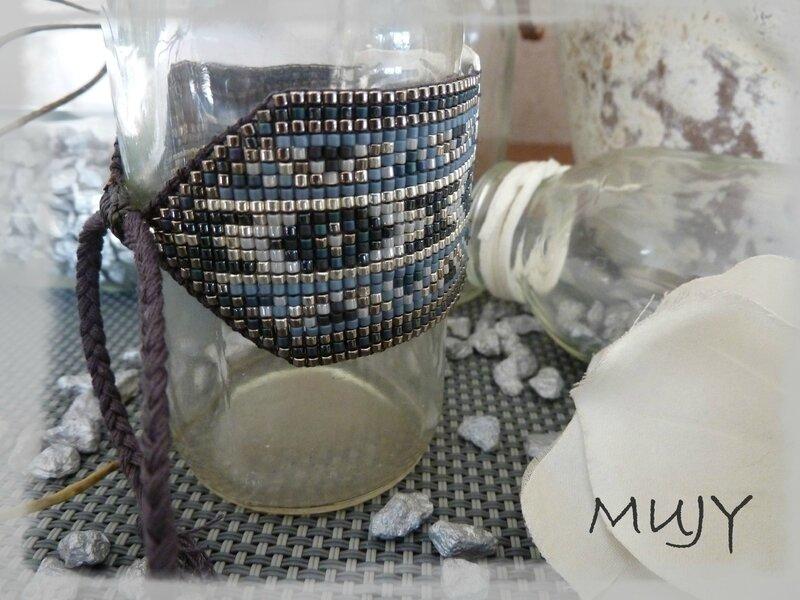 bracelet perles miyuki bleu jean (taille 23) détail fermoir
