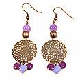 boucles d'oreilles Hënnë Bijoux filigrane fleur sequins violets1