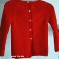 ohana de kidstricots : un gilet fille rouge taille 5/6ans