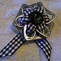 broche ruban coton carreaux noir et blanc
