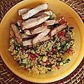 Salade de boulghour aux pois chiches et lamelles épicées de dinde