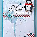carte cde voeux pingouin bleu rouge