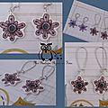 Boucles fleurs vieux rose grands crochets