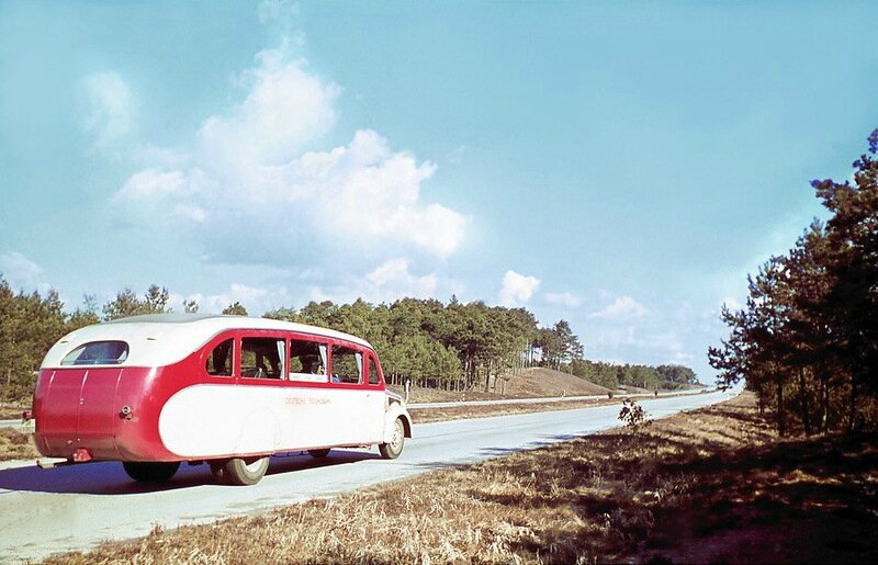 Express Bus Deutsche Reichsbahn at the new motorway between Bremen and Hamburg 1938