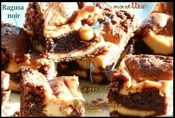 """ღ """" Miam """" Brownie Marbré aux 2 chocolats .."""