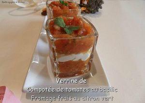 compotée de tomates crèmeau citron vert en verrines