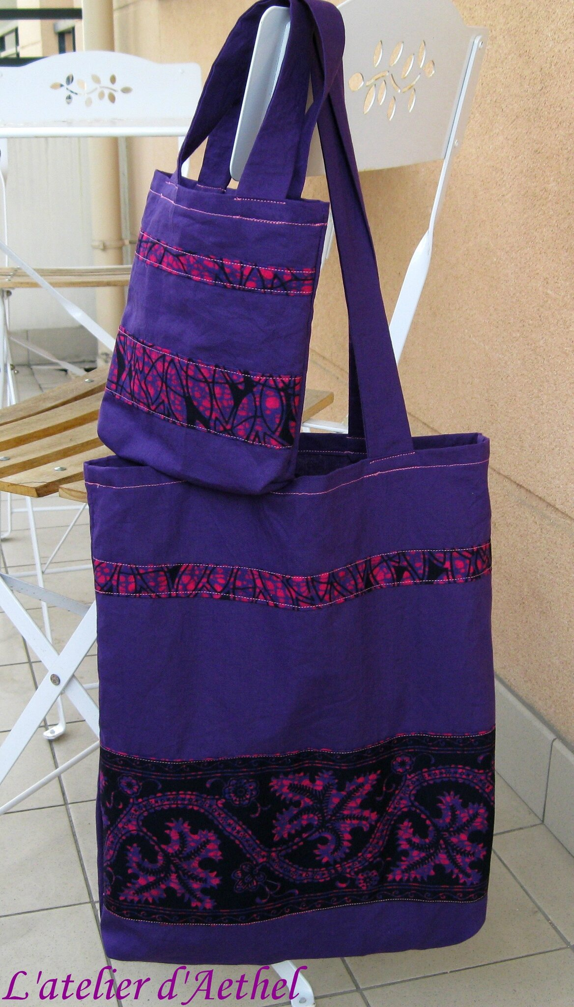 Tote bag duo mère-fille violet et rose