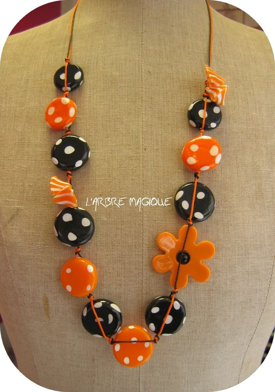 collier perle orange