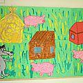 Fresque sur le thème des trois petits cochons