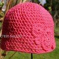 Adèle - Crochet - 4 rosaces - Rose.