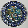 Plate with an allegory of the month of april, pierre reymond (1513- circa 1584), french, limoges, circa 1568-1580